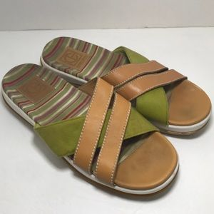 Cole Haan Green Stripe Leather Sandals Shoes Sz 9